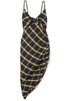 Monse Asymmetric Ruched Checked Brushed-cotton Midi Dress