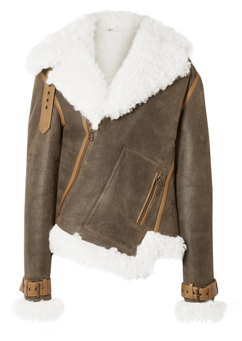 Monse Asymmetric Shearling And Textured-leather Biker Jacket
