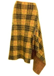 Monse asymmetrical tartan mohair skirt
