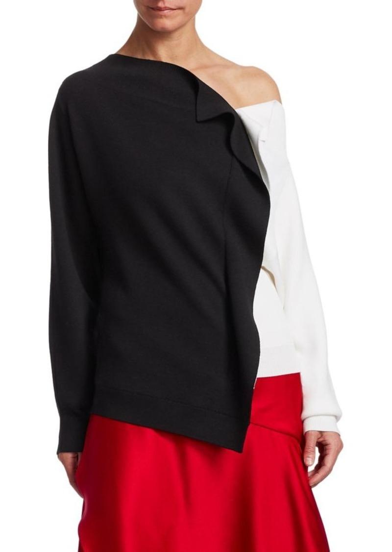 Monse Bicolor Ruffle Virgin Wool Sweater  fa68821ff