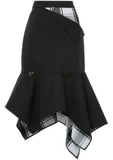 Monse checkered and zip detailed asymmetric hem skirt
