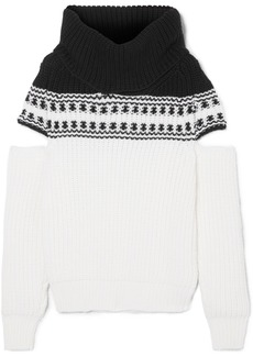 Monse Cold-shoulder Fair Isle Wool Sweater