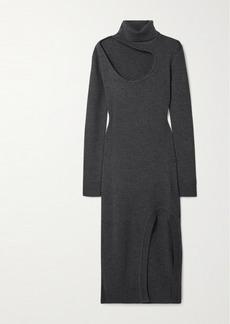 Monse Cutout Merino Wool Turtleneck Midi Dress