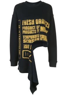 Monse Burlap print distressed sweatshirt