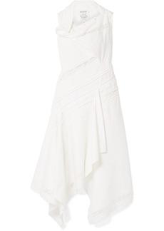 Monse Draped Lace-trimmed Cotton-blend Poplin Midi Dress