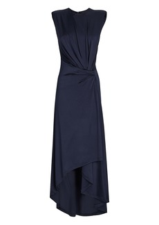 Monse Draped Power-Shoulder Midi Dress