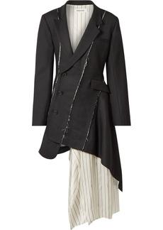 Monse Draped Satin-trimmed Wool-blend Twill Mini Dress