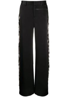 Monse fringed satin wide-leg tuxedo trousers