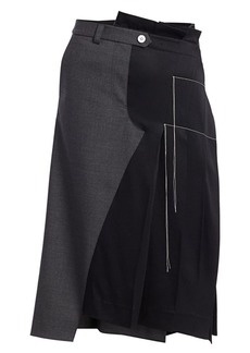 Monse Half Trouser Pleated Wool-Blend Skirt