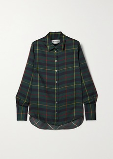 Monse Harris Cutout Draped Tartan Satin-twill Shirt