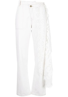 Monse high-waist lace detail trousers