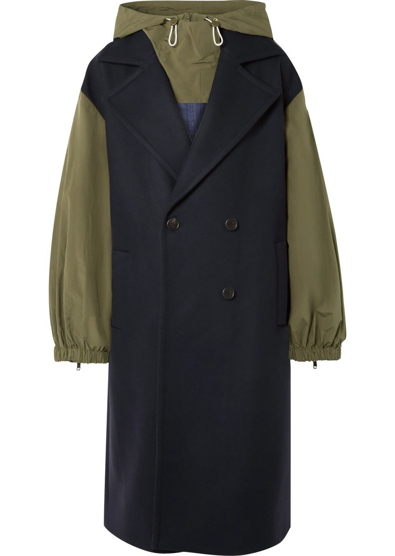 Monse Hooded Double-breasted Embroidered Wool-blend And Ripstop Coat