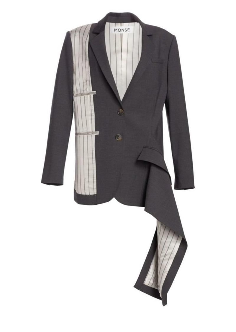 Monse Inside-Out Stretch Virgin Wool Pinstripe Blazer