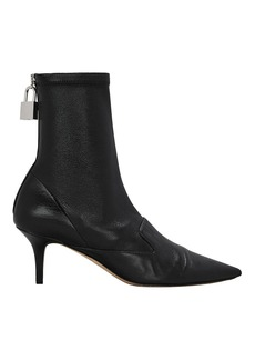 Monse Lock Charm Black Leather Booties