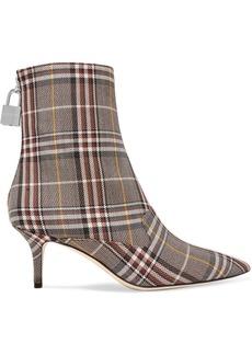 Monse Lock Plaid Canvas Ankle Boots