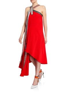 Monse Asymmetric Grosgrain Halter-Neck Dress