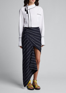 Monse Asymmetric Pinstriped Wrap Skirt