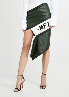 Monse Asymmetrical Leather Zip Miniskirt
