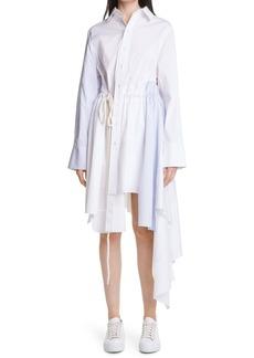 Monse Asymmetrical Long Sleeve Poplin Shirtdress