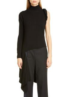 Monse Asymmetrical One-Shoulder Merino Wool Sweater