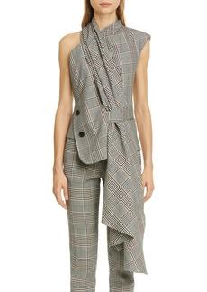 MONSE Asymmetrical Plaid Wool Blend Top