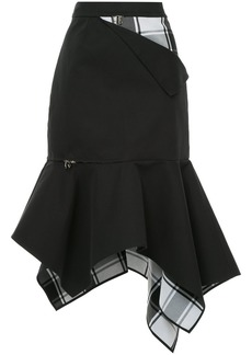 Monse checkered and zip detailed asymmetric hem skirt