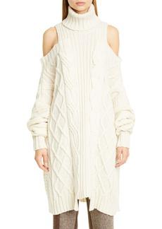 Monse Cold Shoulder Wool Fisherman Sweater