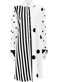 Monse contrast prints shirt dress - White