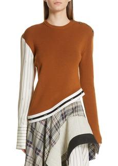 Monse Contrast Sleeve Asymmetrical Wool Sweater