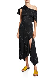 Monse Contrast-Stitched Bodycon Dress