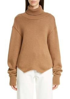 Monse Cowl Back Merino Wool Turtleneck Sweater
