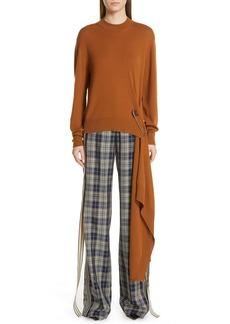 Monse Drape Pin Hem Wool Sweater