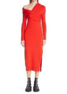 Monse Draped Long Sleeve Wool Sweater Dress