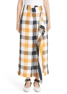 MONSE Foldover Waist Gingham Culottes