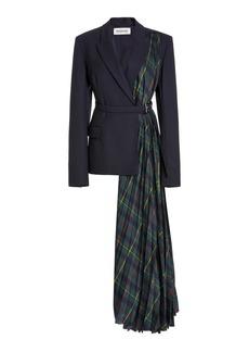 MONSE Harris Tartan-Paneled Wool-Blend Jacket