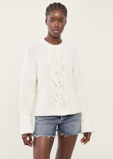 Monse Imitation Pearl Cable Sweater