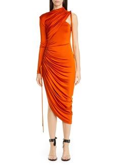 Monse One-Shoulder Asymmetrical Drawstring Jersey Dress