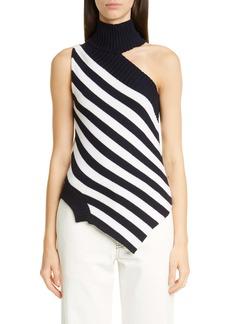 Monse One-Shoulder Asymmetrical Stripe Merino Wool Sweater