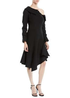 Monse One-Shoulder Draped-Sleeve Wool-Blend Fit-and-Flare Dress