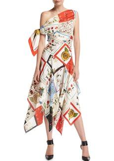 Monse One-Shoulder Floral Patchwork Scarf Midi Dress