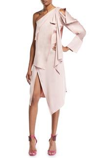 Monse One-Shoulder Tie-Draped Slit Front Dress