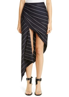 Monse Pinstripe Asymmetrical Wool Skirt