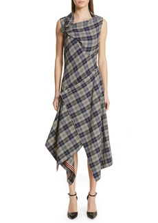 Monse Plaid Asymmetrical Midi Dress