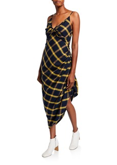 Monse Plaid Ruched Midi Dress