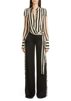 Monse Regalia Stripe Fringe Silk Chiffon Top