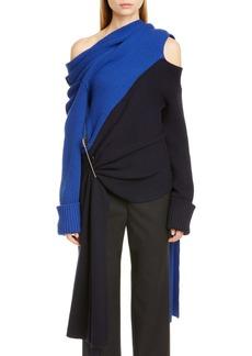 Monse Scarf Neck Two-Tone Merino Wool Sweater