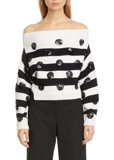 Monse Sequin Dot Upside Down Merino Wool Sweater