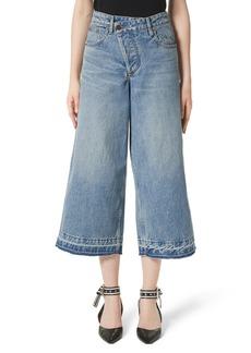 MONSE Shifted Zip Crop Wide Leg Jeans