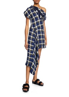 Monse Short-Sleeve One-Shoulder Fitted Tweed Dress
