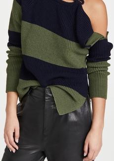 Monse Stripe Buckle Shoulder Sweater